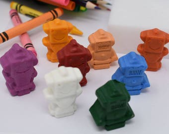 ON SALE - Robot Crayons - Set of 8 - Recycled Crayons - Robots - Party Favor - Robot Party - Birthday Party Favor - Stocking Stuffer