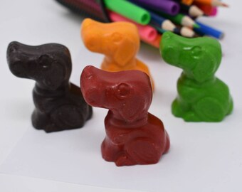 ON SALE - Dog Crayons - Set of 4 - Recycled Crayons - Dog Party - Party Favor - Stocking Stuffer - Kids Party Favor - Puppies