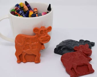 Cow Crayons - Set of 3 - Animal Crayons - Barnyard Animals - Farm Animal Crayons - Farm Party - Barnyard Party - Recycled Crayons
