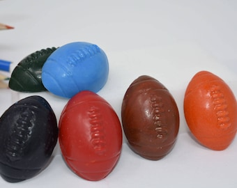 Football Crayons - Set of 6 - Stocking Stuffer - Sports Crayons - Sports Party - Party Favor - Football Player