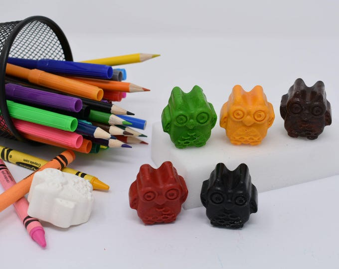 Featured listing image: Owl Crayons - Set of 6 - Owls - Recycled Crayons - Owl Party - Owl Party Favor - Stocking Stuffer - Owl Favors - Owl Theme - Owl Birthday