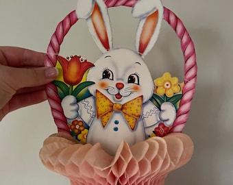 Vintage Easter Bunny basket honeycomb