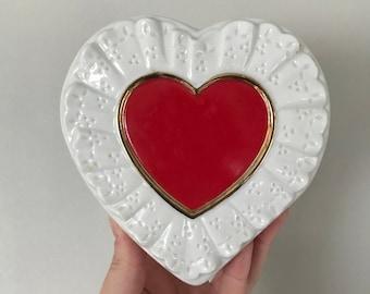 Vintage Valentine's Day red heart Teleflora planter