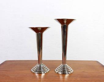 Set of two Art Deco candlesticks metyal silver