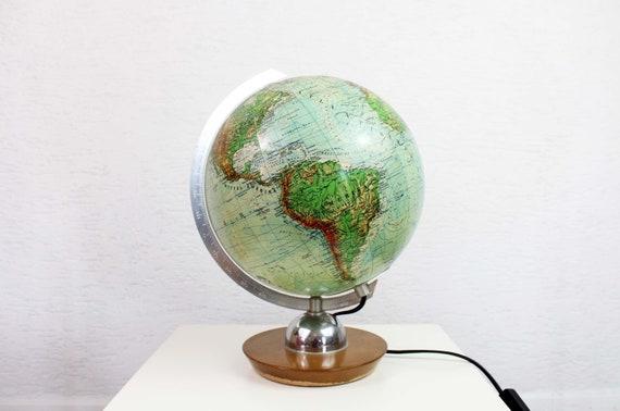 Wereldbol Met Licht : Glas licht wereldbol globe jro globus etsy
