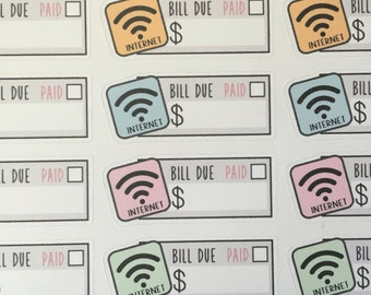 Kawaii Internet Wifi Bills (MS-INTBILL) for Erin Condren, the Happy Planner, Inkwell Press and more!