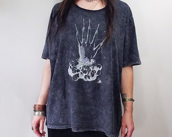 Paradin Hand of Glory emblem silver print mineral wash black wide neck cotton tee