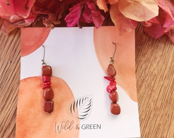 Pair of red and coral jasper earrings
