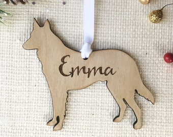 German Shepherd Ornament - Personalized Dog Christmas Ornament - Dog Memorial Gift - Dog Lover Christmas Gift - Multiple Breeds Available