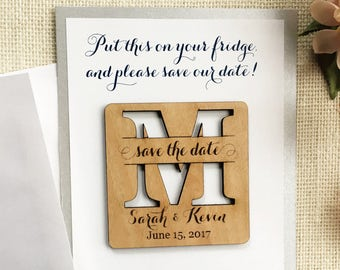Wood Save the Date Magnet - Personalized Wedding Magnet - Initial Save the Date - Rustic Wooden Magnet - Custom Wedding Save the Date