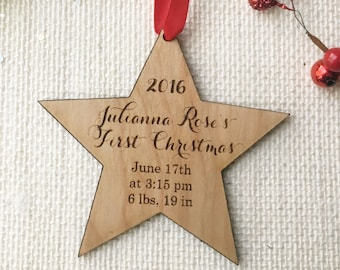 Personalized Star Shaped Ornament for Baby's First Christmas - Laser Cut and Engraved