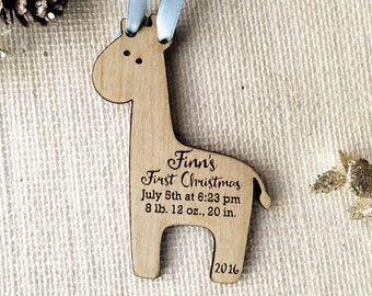 Baby Giraffe Custom Baby's First Christmas Ornament
