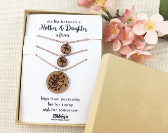 Dandelion Necklace Set for Mother and Daughter - Wish Necklace Set - Dandelion Seed