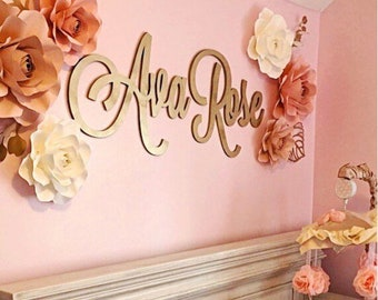 Cutout Name Signs - Two Names - Champagne Gold - Nursery Decor - Baby Shower Gift - New Baby Gift