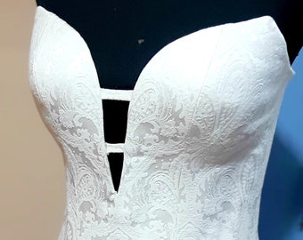 83581519160 White Wedding Brocade Corset