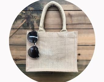 Small size jute burlap tote bags, Custom printed jute burlap tote bags