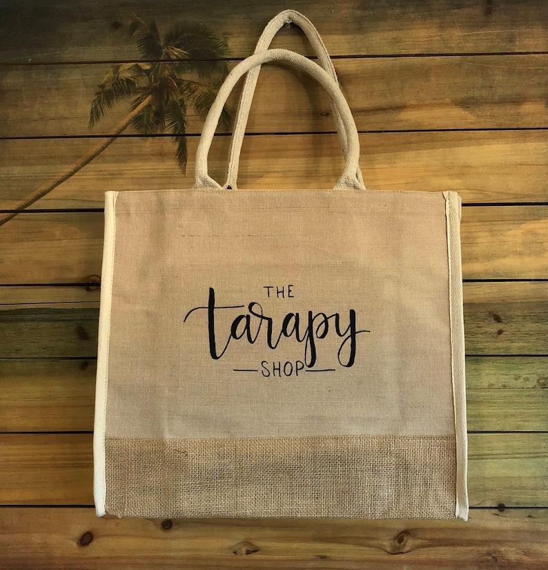 bbde0edcf Large Custom Printed Jute Burlap Tote Bags Fancy Customized | Etsy