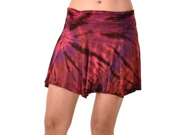 Tie Dye Mini Skirt Tie Dye Reverse Tie Dye Skirt Tie Dye Mudmee Festival Skirt  Boho Mini Skirt  Tie Dyed Mini Skirt