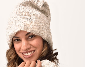 Hand Made 100% Merino Wool Long Tail Hat Scarf Combo Ski Cap Snowboard Hand Knitted Scarves Wool Fleece Lined Stocking Cap Scarf in One