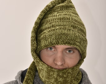Hand Made 100% Merino Wool Long Tail Scarves Hat Combo Hooded Scarf Polar Fleece Lined Stocking Cap Hat and Winter Scarf in One - Green