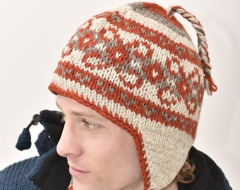 Gray Knit Ethnic Print Wool Braided Fleece Lined Fair Trade Ear Flap Ski Hat