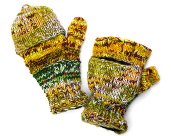Wool Convertible Mittens, Texting Gloves, Hand Knit Glittens - Multi-Earthy Colors - 1653G