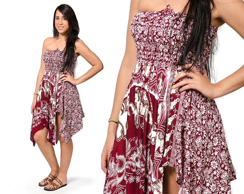 ff7f7115f13 Elephant Print Convertible Fairy Dress   Skirt Red 3095R