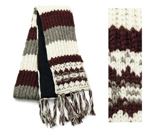 Wool Scarf, Hand Knit Wool Scarf, Winter Scarf - Merlot Vintage Pattern - 2609R