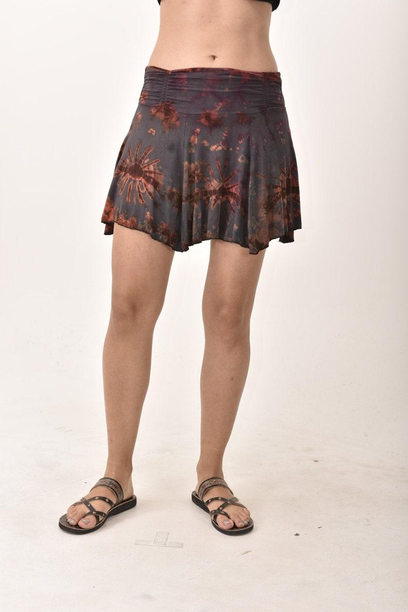 Rust Multi 1098N Tie Dye Mini Skirt