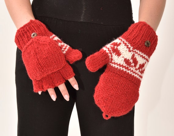 Hand Knit Fingerless Wool Texting Mittens Fleece Lined Made in Nepal  RED