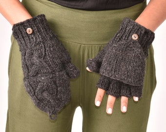 Hand Knitted Cable 100% Merino Wool Flip Top Snowboard Finger less Ski Fleece Lined Fingerless Mittens Convertible Texting Gloves Charcoal