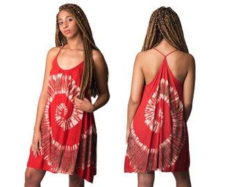 Tie-Dye Mini Shift Dress - Red Multi - 4476R