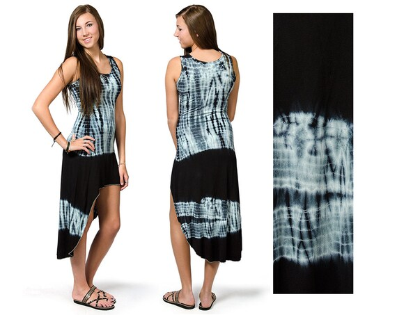 Tie Dye High Low Dress Blue Black Multi 3105y Etsy
