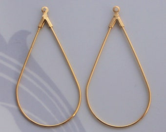 15/30/50 PCS Bright Gold Medium Tear Drop Hoop Ring Connector Link Charms - 42x23mm Lead Free