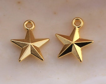 20/50/100 PCS Tiny Bright Gold Double Sided Star Charms - 16x14mm Lead Free