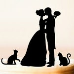 Cake topper with cats,silhouette cake topper with two cats,cats cake topper,wedding cake topper with cats,cake topper cats (0166)