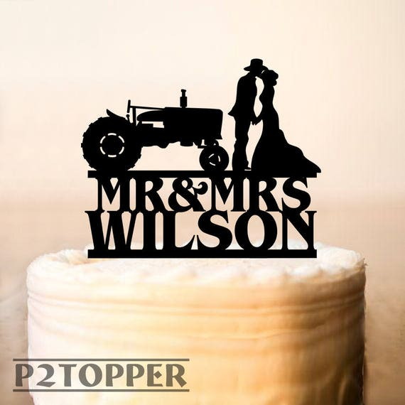Tractor Wedding Cake TopperFarmer Wedding cake topperRustic | Etsy