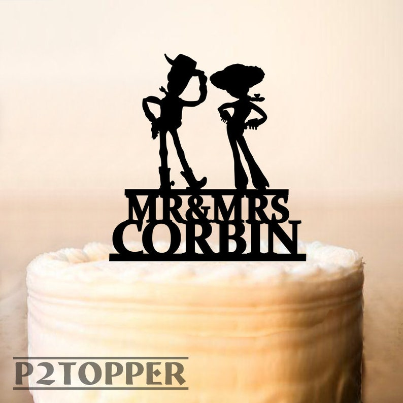 Toy Story Wedding Cake Topperwoody And Jessie Cowboy Bride Etsy