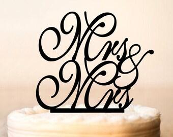 MRS and MRS Cake Topper,lesbian wedding cake topper,same sex wedding cake topper,lesbian wedding,cake topper for lesbian, mrs and mrs (0071)