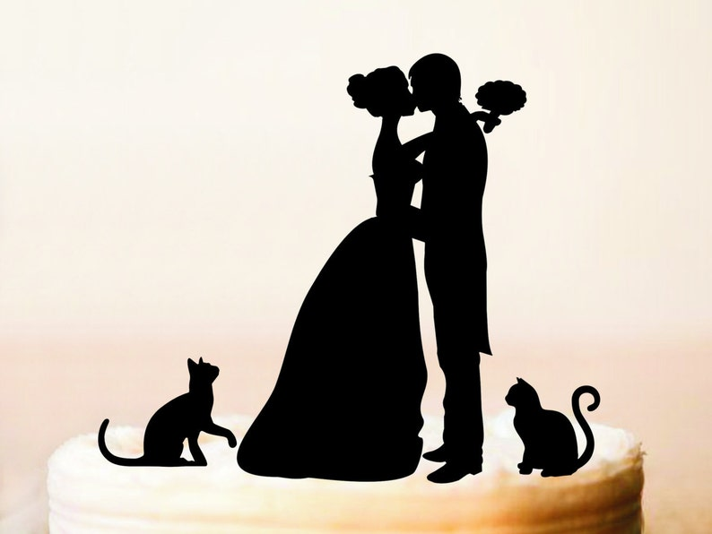 Cake topper with catssilhouette cake topper with two image 0
