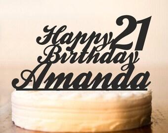 Custom Birthday Cake Topper, 21st Birthday Cake Topper,Cake Topper For Birthday,Happy Birthday Cake Topper,Cake Topper Birthday Party (0012)