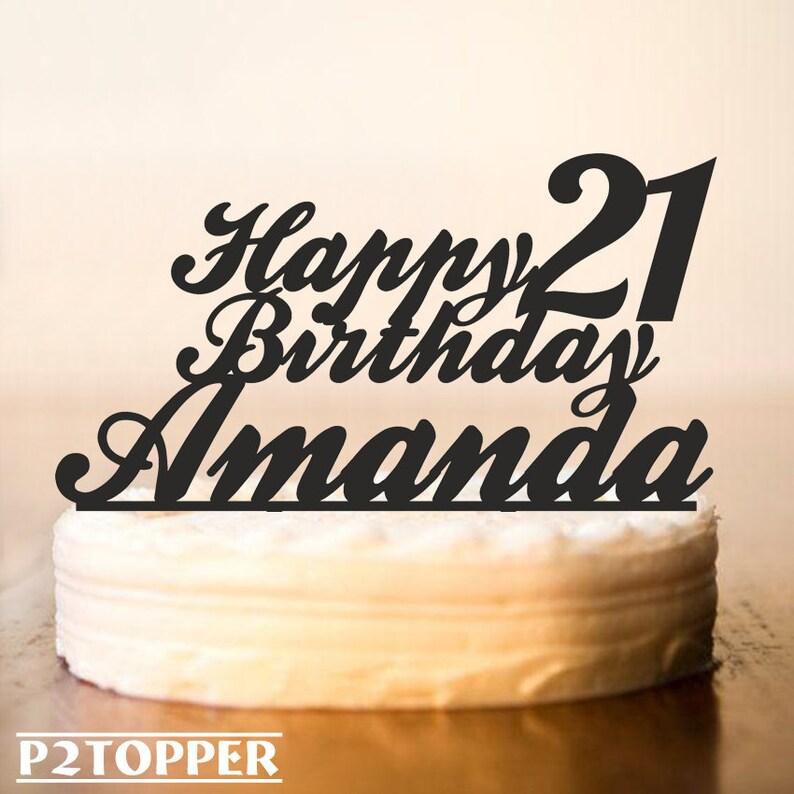 Custom Birthday Cake Topper 21st