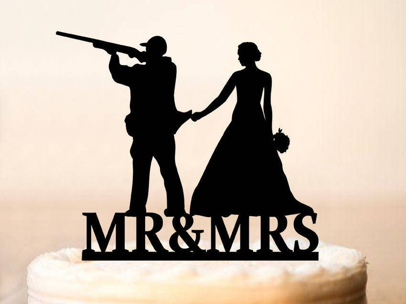 Hunter Wedding Cake Topper Wedding Cake Topper With Guns Wedding Cake Topper Gunsters Wedding Silhouette Topper Our Hunt Is Over 0205