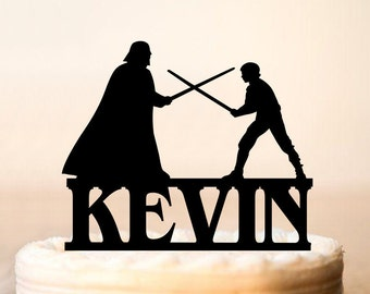 Darth Vader and Luke Skywalker fighting, cake topper,Darth and Luke cake topper,Star Wars cake topper,Darth Vader Silhouette (0105)