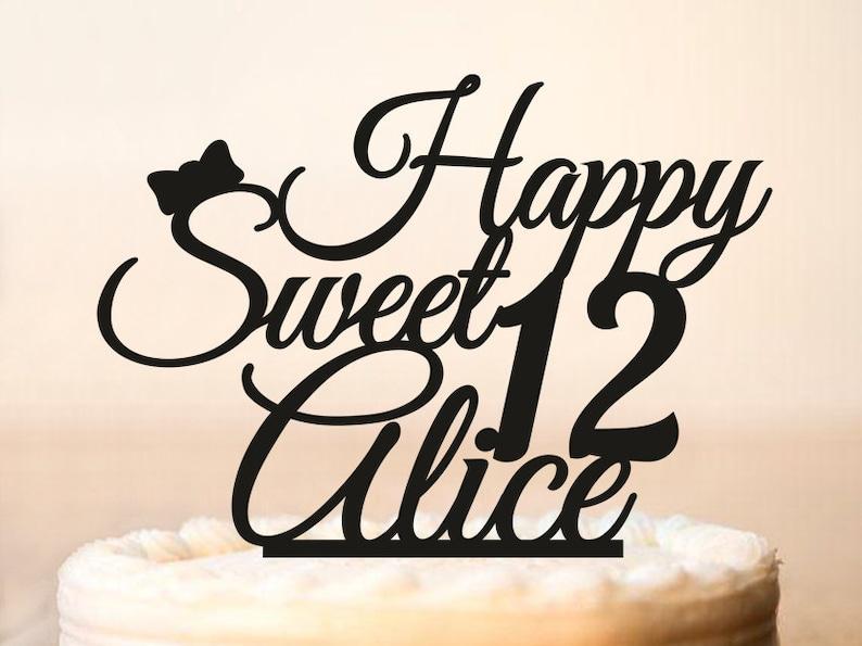 12 Geburtstag Kuchen Deckel Süße 12 Kuchendeckel Glücklich Etsy