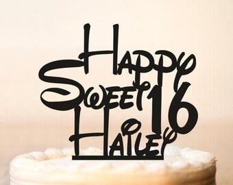 Disney Birthday cake topper, Sweet 16 cake topper, Happy Birthday Cake Topper, Happy Sweet 16 cake topper, Personalized Cake topper (0132)