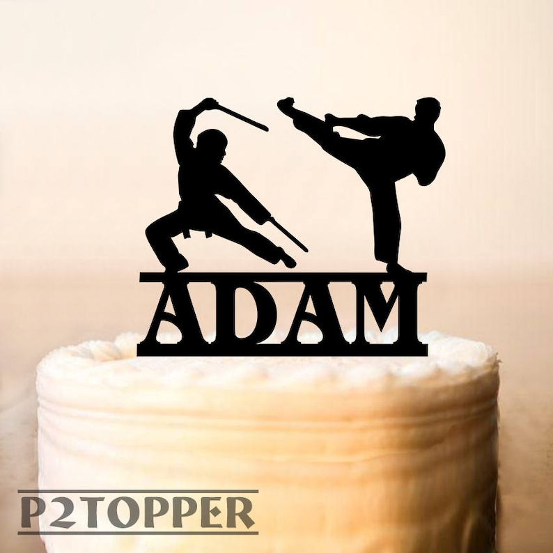 Ninja Cake Topper,Ninja Birthday Cake Topper,custom name cake topper with  age name,karate cake topper,martial arts karate judo (0257)