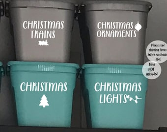 Christmas storage bin decal, Container labels, Christmas storage decal, storage container decal, container decals, organization, labels