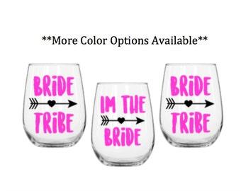 Bride tribe wine glasses-bride tribe- bride tribe decal-bridal party glasses- bride tribe stickers-bride tribe wine glasses-bride tribe
