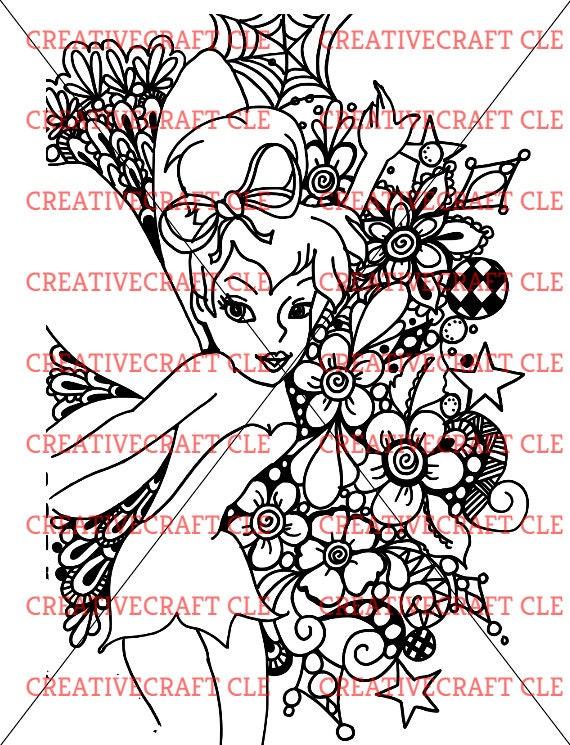 Alle Kleurplaten Van Tinkerbell.Zentangle Svg Tinkerbell Disney Kleurplaten Pagina Mandala Etsy